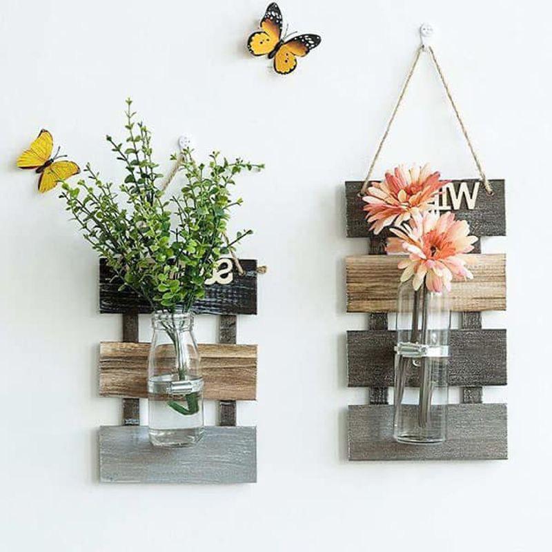 Trang trí chậu hoa treo tường phong cách vintage